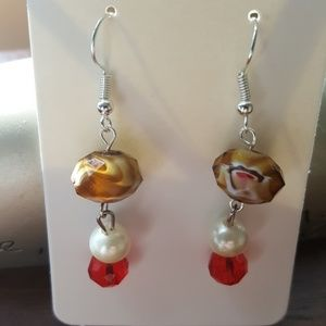 Silver/ Brown/ White/ & Red❤️ Statement Earrings